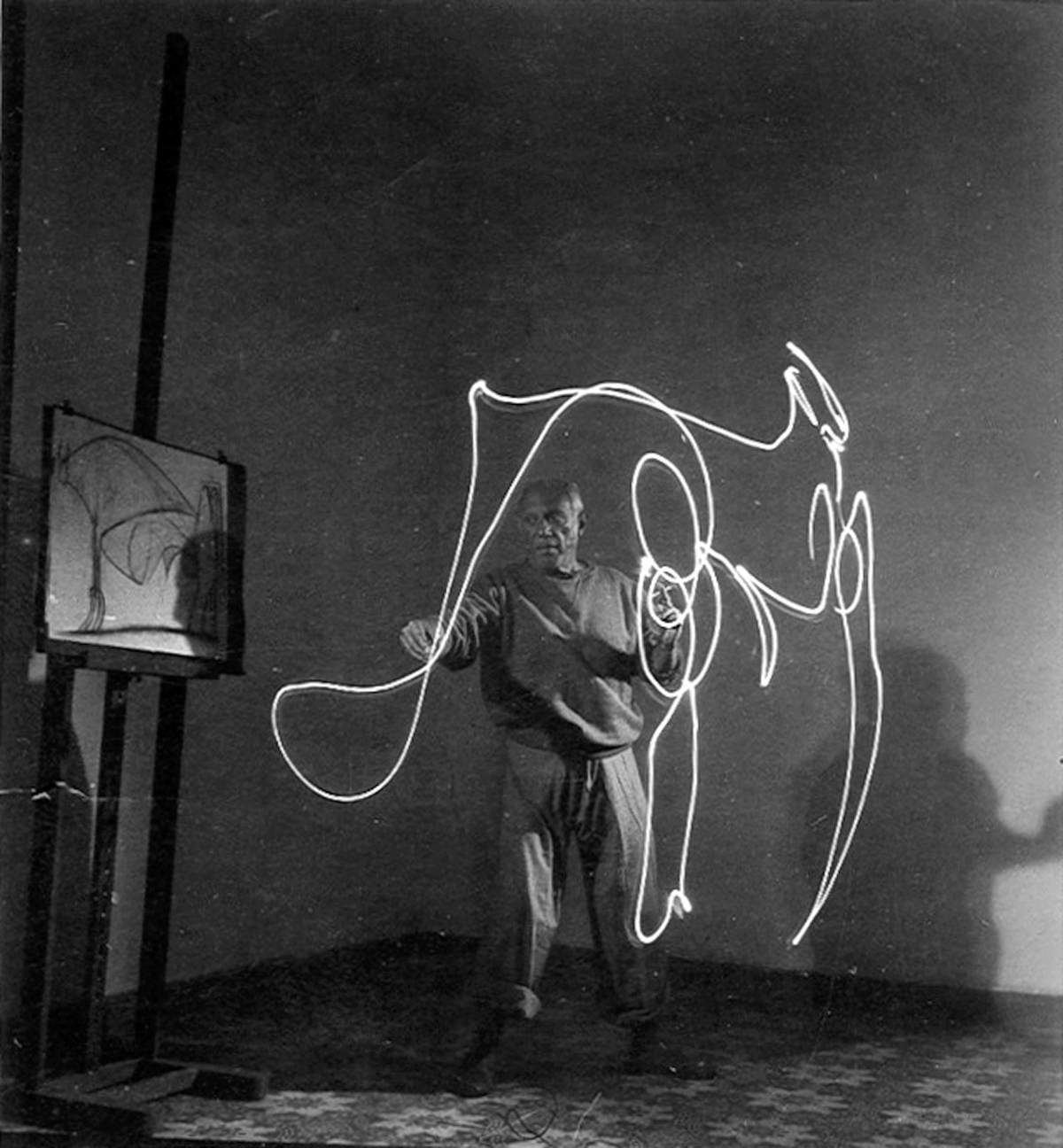 Artist Pablo Picasso painting with light during LIFE photo shoot. Vallauris, France December 31, 1948. (Photo by Gjon Mili/The LIFE Picture Collection/Getty Images)