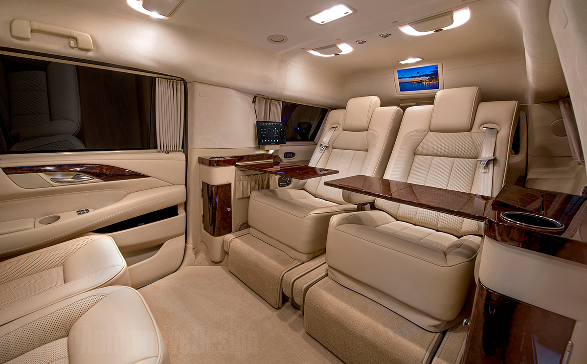 Custom Stretched Cadillac Escalade Evs Offers Private Jet Like Interior