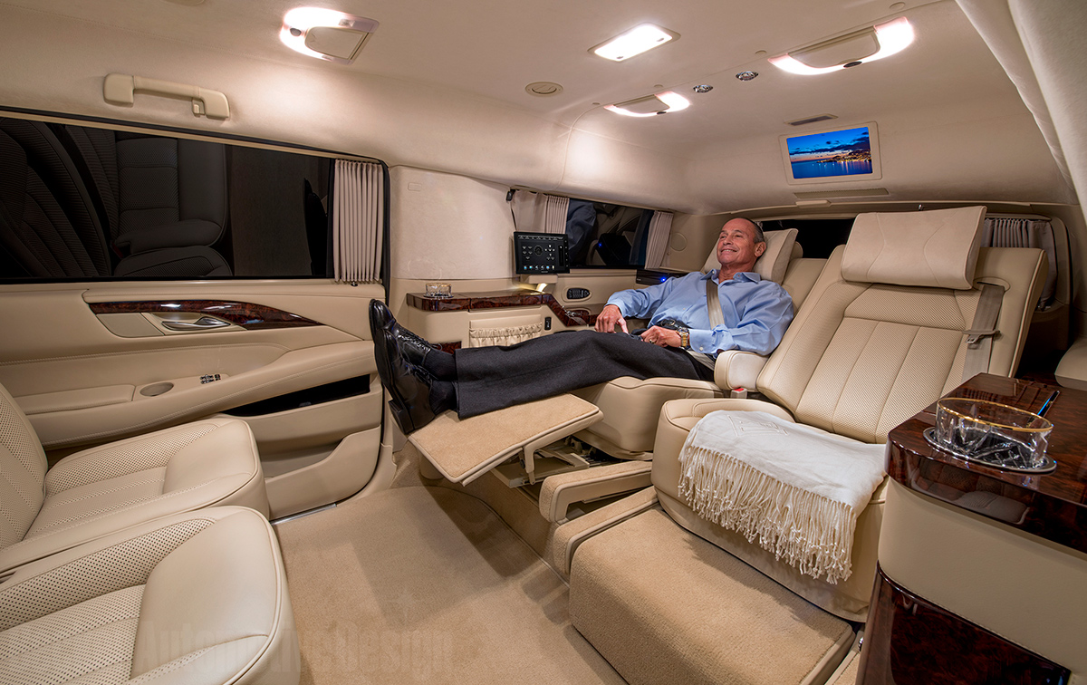 Custom Stretched Cadillac Escalade Evs Offers Private Jet