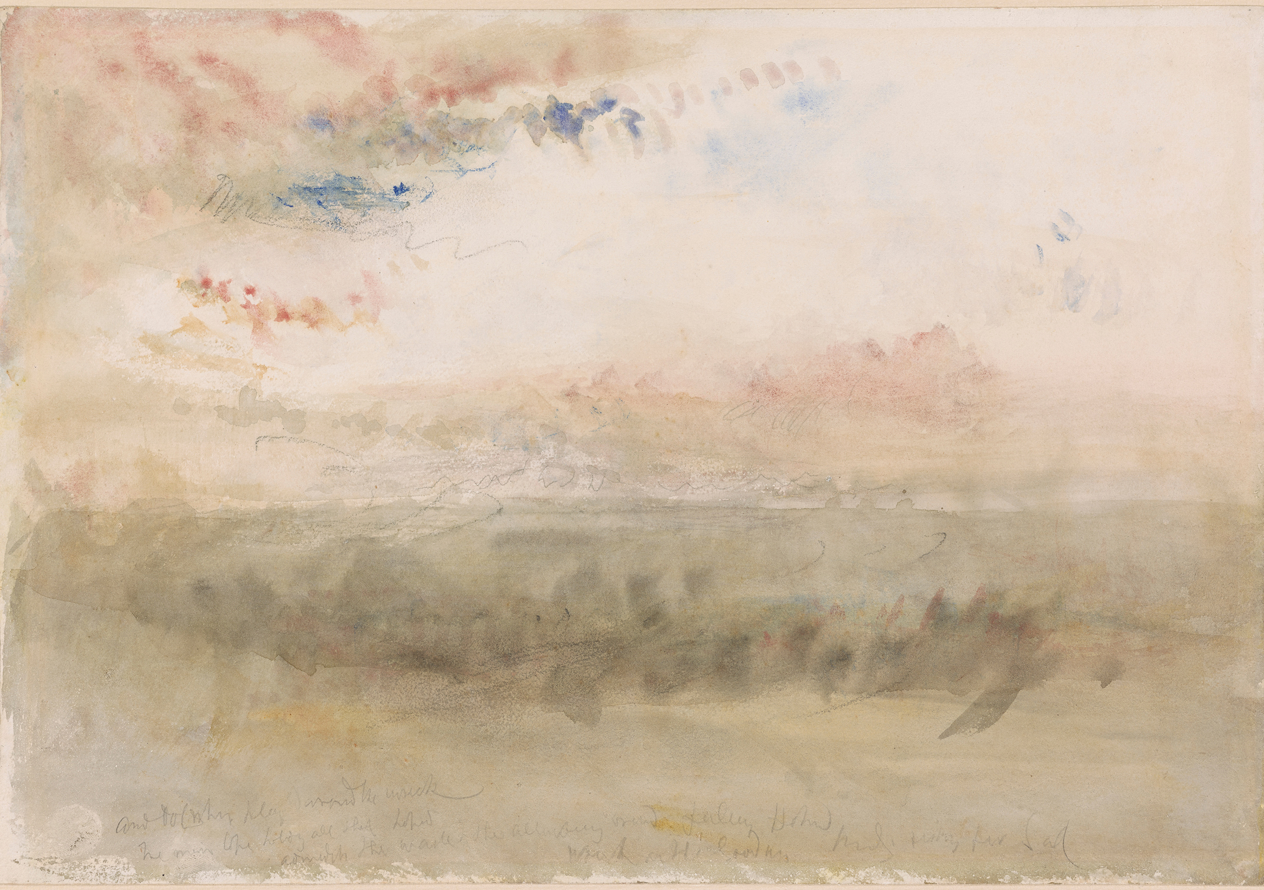 """Wreck on the Goodwin Sands: Sunset,"" watercolor and graphite with black chalk on paper, 1845 (Courtesy of The Met)"
