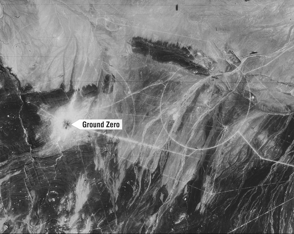 Chinese nuclear test site at Lop Nor, showing ground zero four days after the nuclear test (Courtesy NRO)