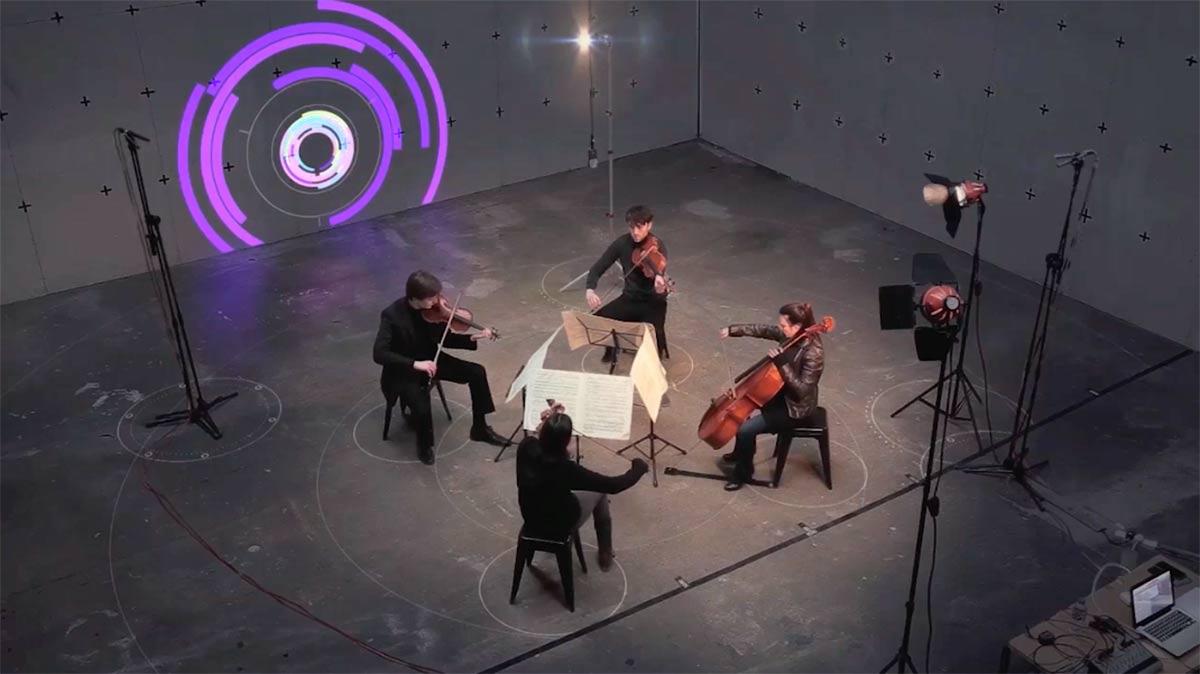 Flashing Lights String Quartet : Light Display Controlled by String Quartet Member s Minds RealClearLife