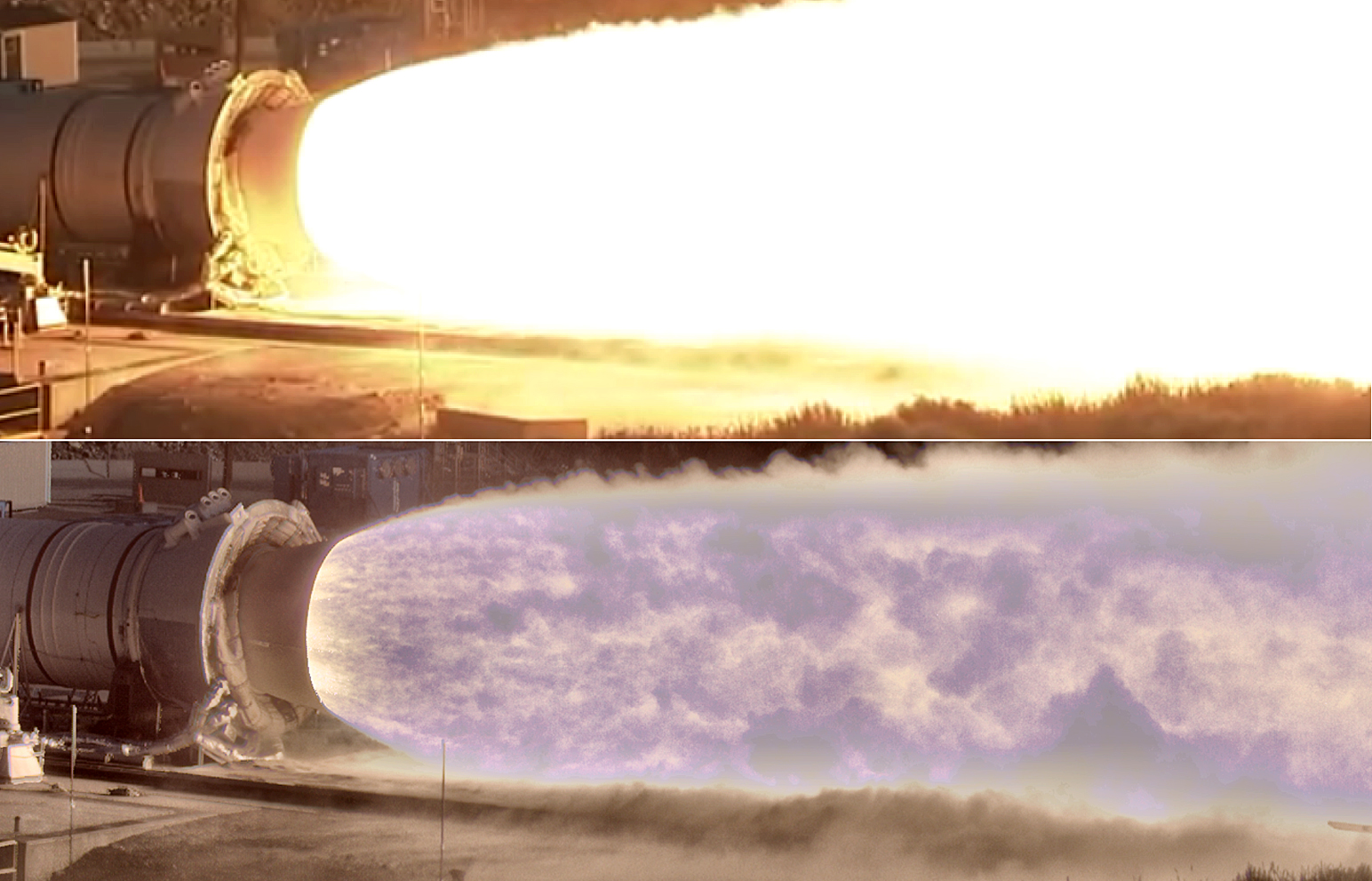 Composite image of Space Launch System Qualification Motor 2 test or, QM-2, without using HiDyRS-X camera, top, and using the camera, bottom. (NASA)