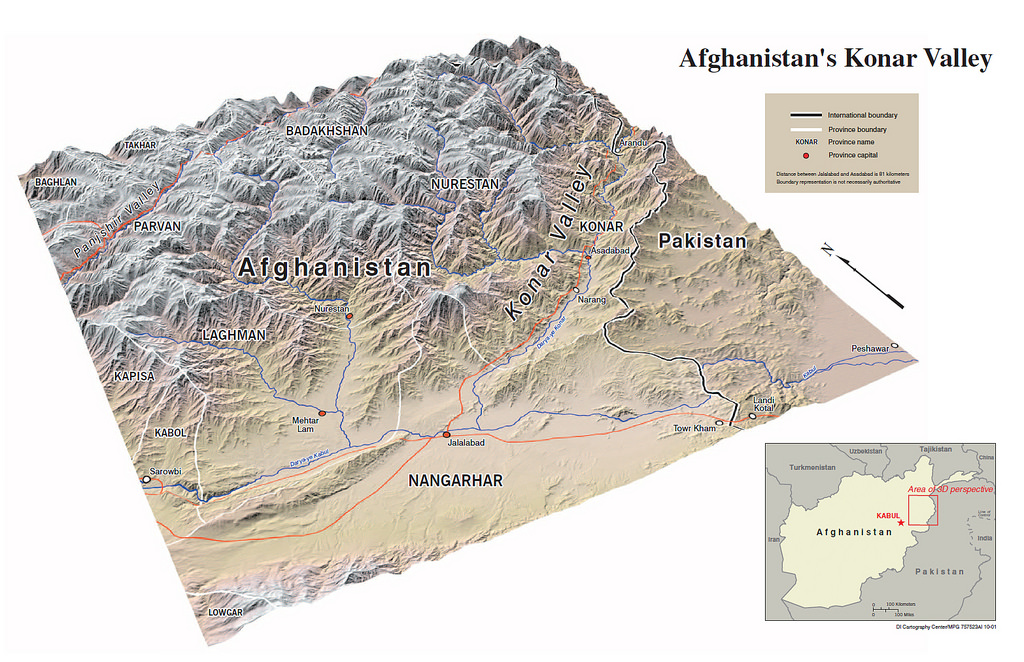 3D Map from 2001 of the Konar Valley in Afghanistan (Central Intelligence Agency)