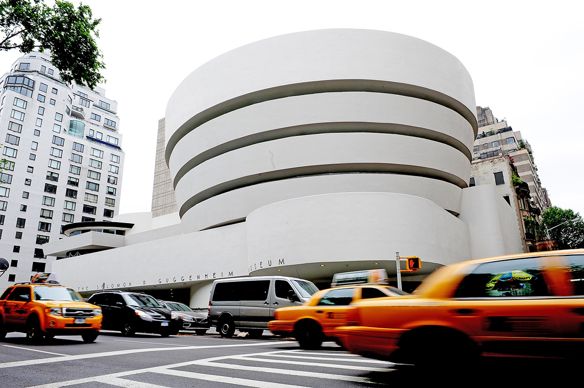 "An exterior view along Fifth Avenue May 14, 2009 of the Guggenheim Museum in New York as the museum marks its 50th anniversary with an exhibition ""Frank Lloyd Wright: From Within Outward"". The building itself was designed by Wright. AFP PHOTO/Stan Honda (Photo credit should read STAN HONDA/AFP/Getty Images)"