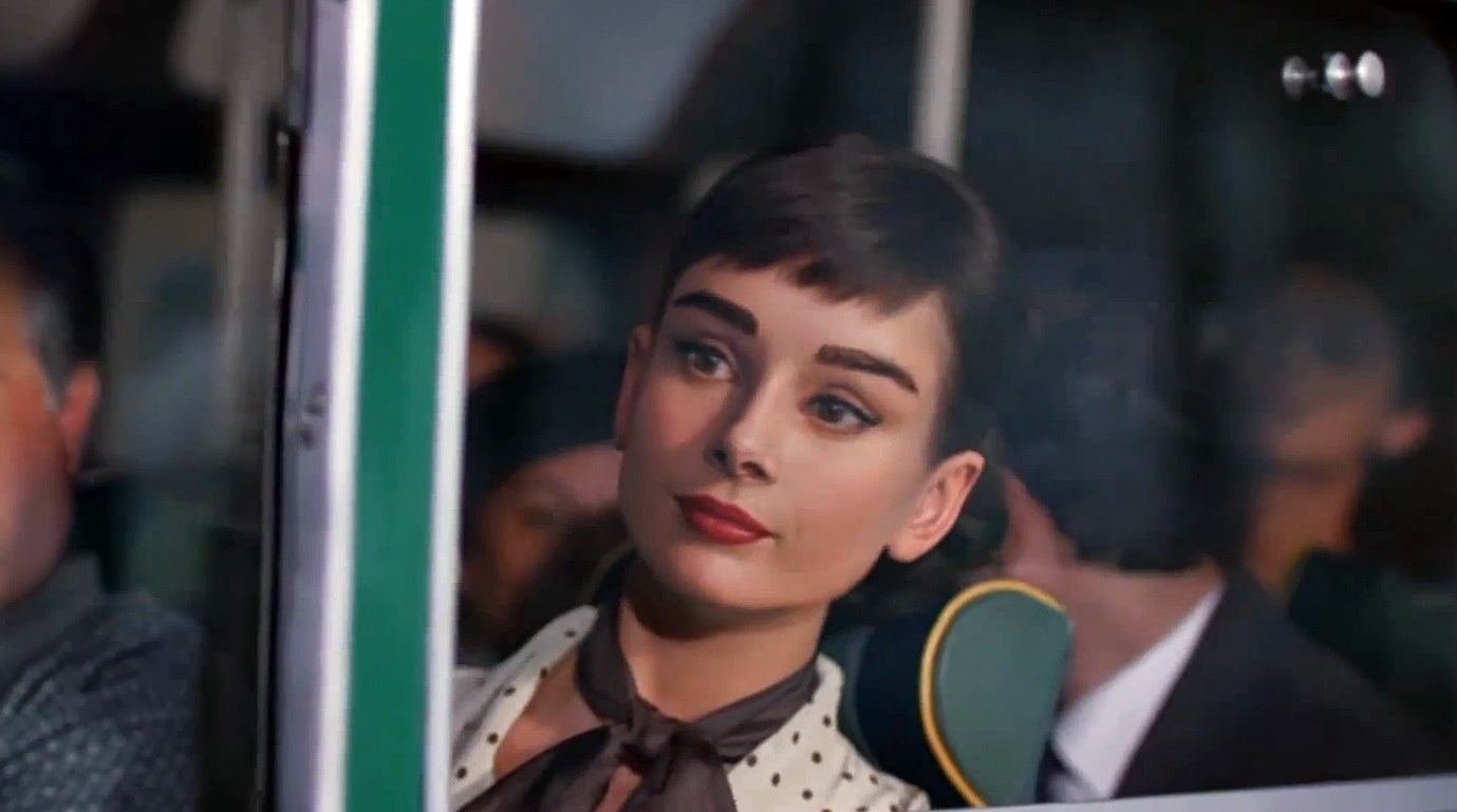 A computer generated Audrey Hepburn appearing in a 2013 Galaxy chocolate commercial (Mars)