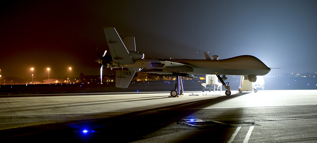 An MQ-9 Reaper sits on the flight line at Hurlburt Field Fla., April 24, 2014. The MQ-9 Reaper is an armed, multi-mission, medium-altitude, long-endurance remotely piloted aircraft that is employed primarily as an intelligence-collection asset and secondarily against dynamic execution targets. (U.S. Air Force photo by Staff Sgt. John Bainter/Released)