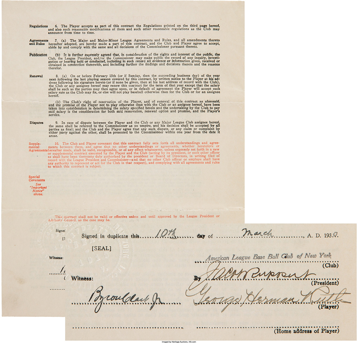 Babe Ruth's Richest Contract as a Yankee Headed for Auction
