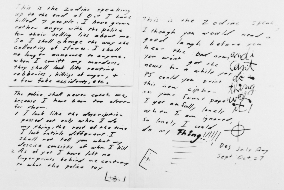the zodiac killer essay Free essay: the zodiac killer is one of the most popular murders the zodiac killer was a mysterious killer, and he had a very unique way of going about the murders the mysterious person did not have a real name because no one was able to identify him.