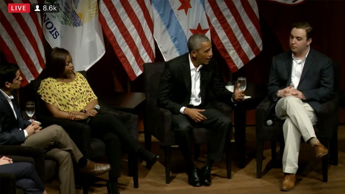 Former President Barack Obama gives his first post-presidency speech at the University of Chicago. (Screengrab/Livestream)