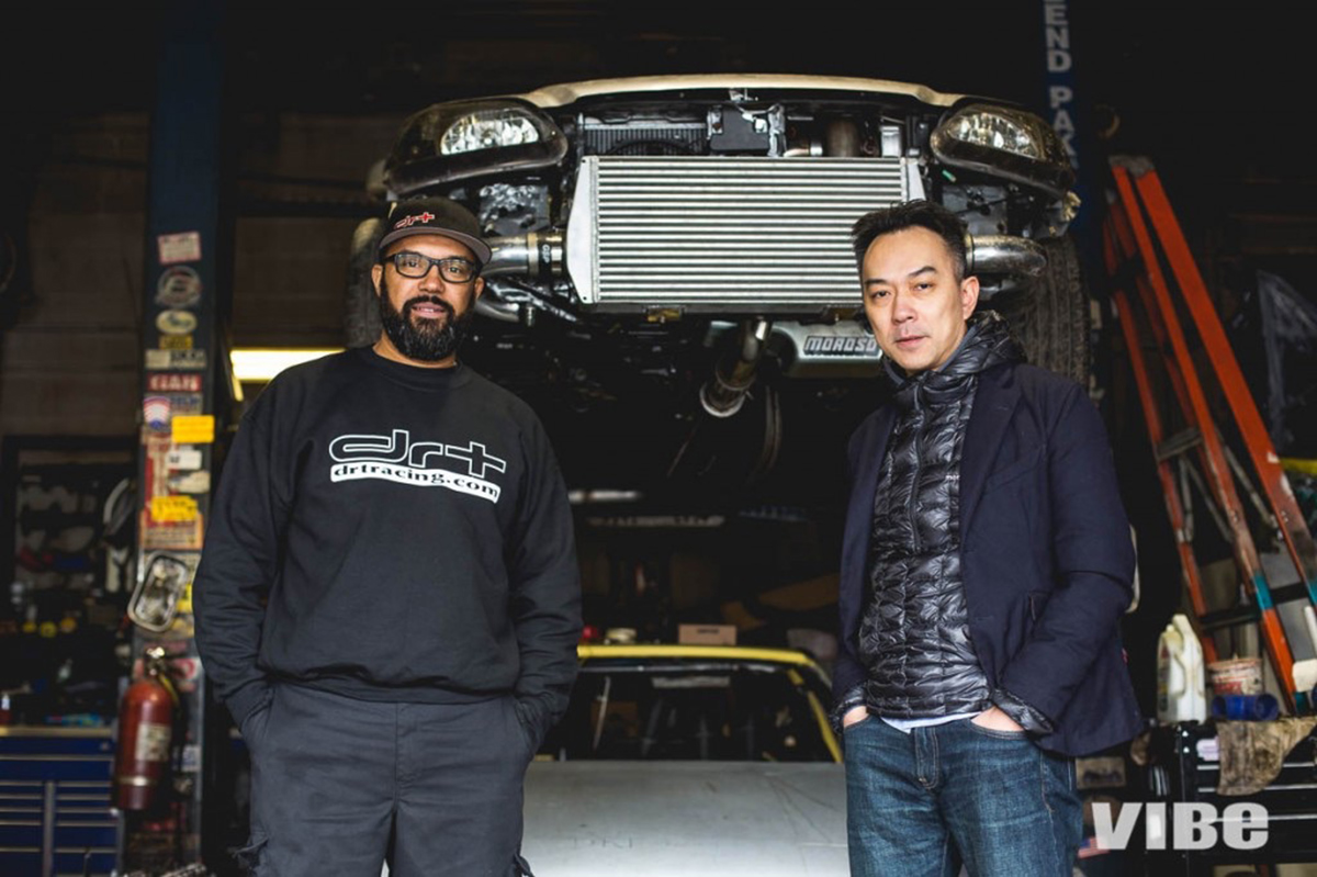 Rafael Estevez (l.), the basis for Vin Diesel's character in the 'Fast and Furious' movies, with writer Kenneth Li, whose article, 'Racer X,' was inspiration for franchise. (Jason Chandler/Vibe Magazine)