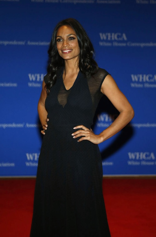 Actress Rosario Dawson arrives for the White House Correspondents' Association (WHCA) dinner