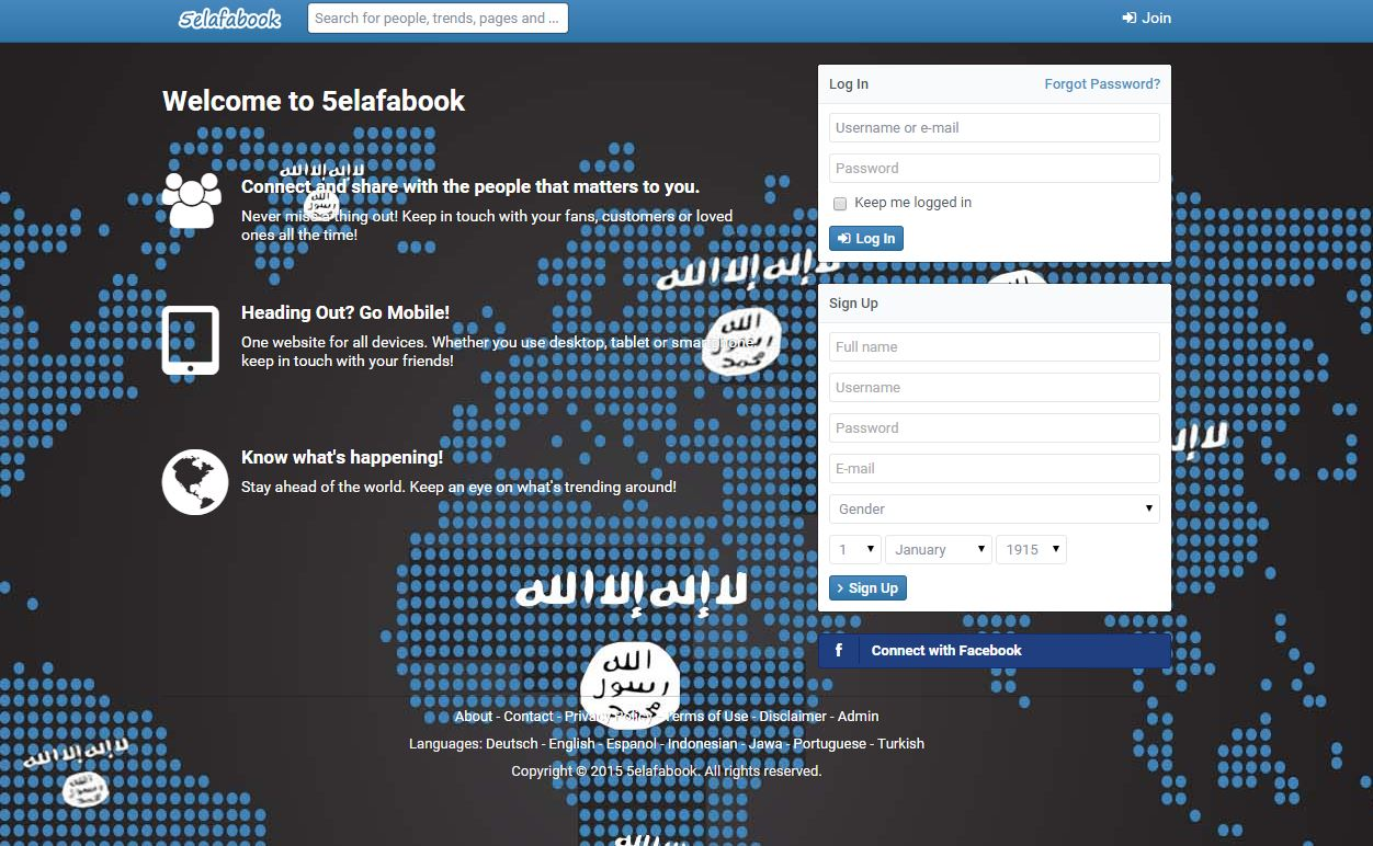 "A screen shot of the social network, dubbed ""Khalefabook,"" ISIS built two years ago that crash shortly after it's launch."