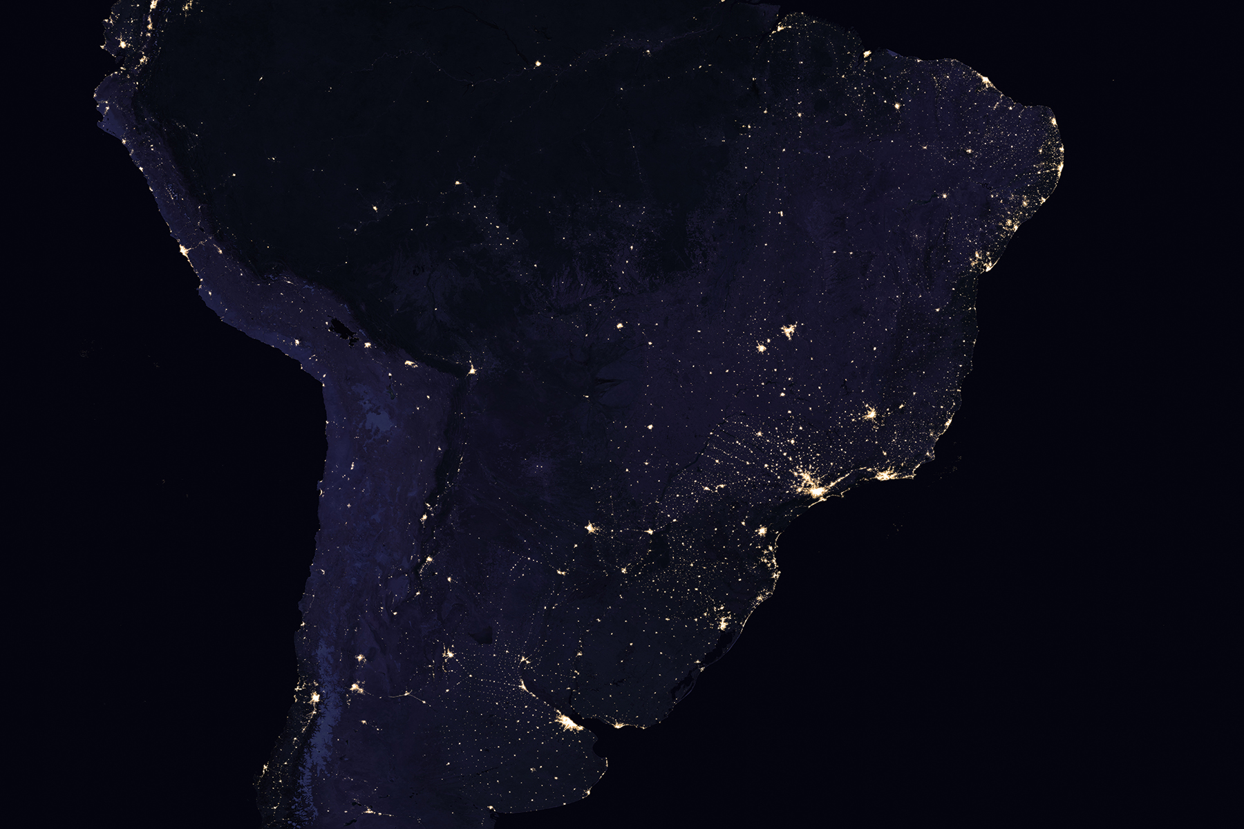 Composite image of South America at night, 2016. (NASA Earth Observatory images by Joshua Stevens, using Suomi NPP VIIRS data from Miguel Román, NASA's Goddard Space Flight Center)