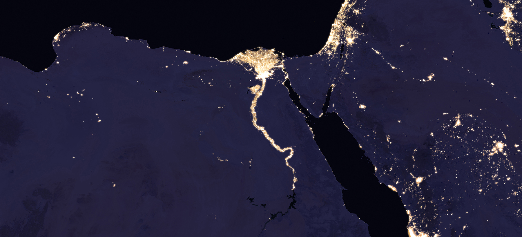 Composite image of Nile River and surrounding region at night, 2016. (NASA Earth Observatory images by Joshua Stevens, using Suomi NPP VIIRS data from Miguel Román, NASA's Goddard Space Flight Center)