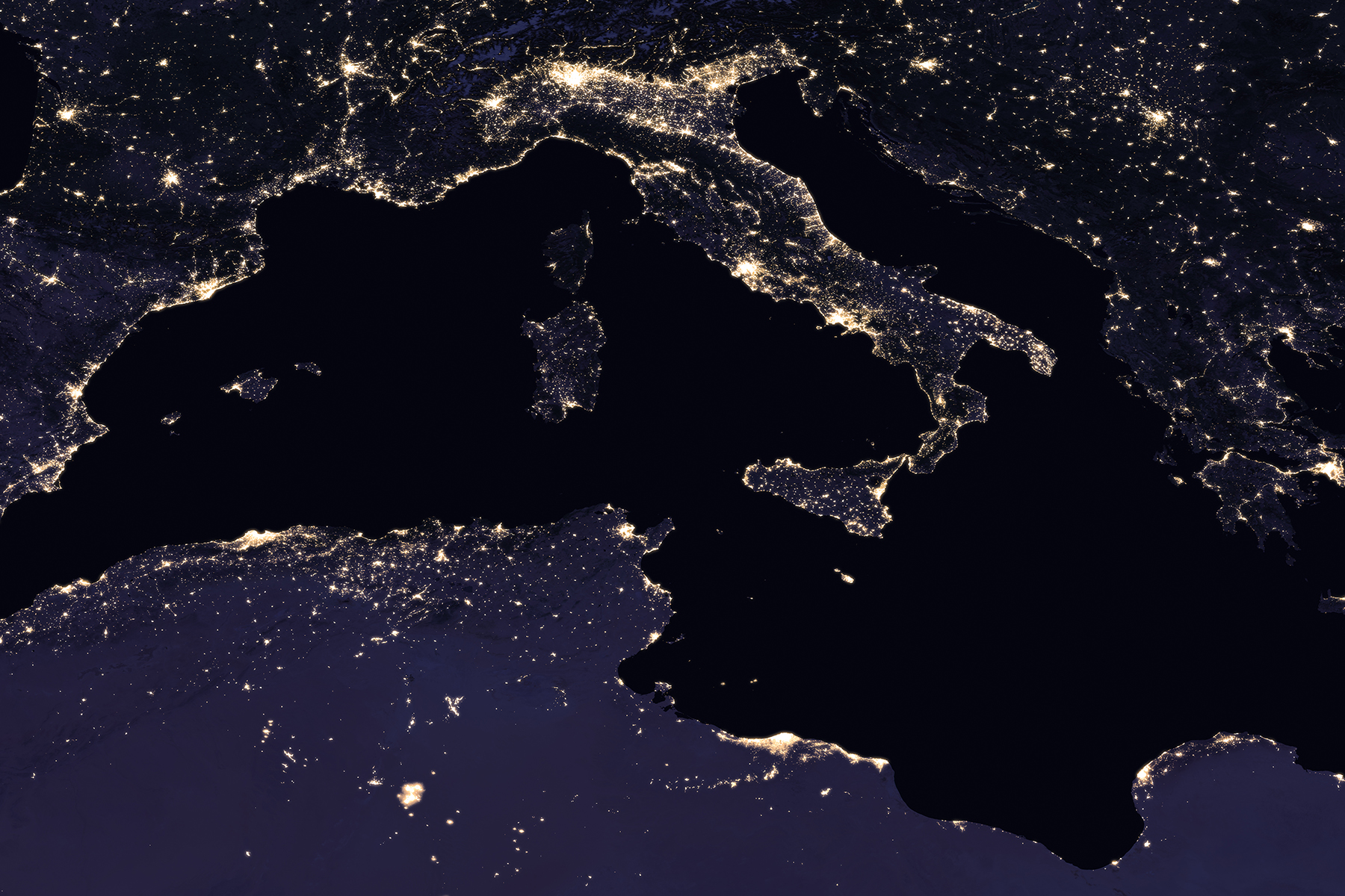 Satellite photo of the Mediterranean region at night, 2016. (NASA Earth Observatory images by Joshua Stevens, using Suomi NPP VIIRS data from Miguel Román, NASA's Goddard Space Flight Center)