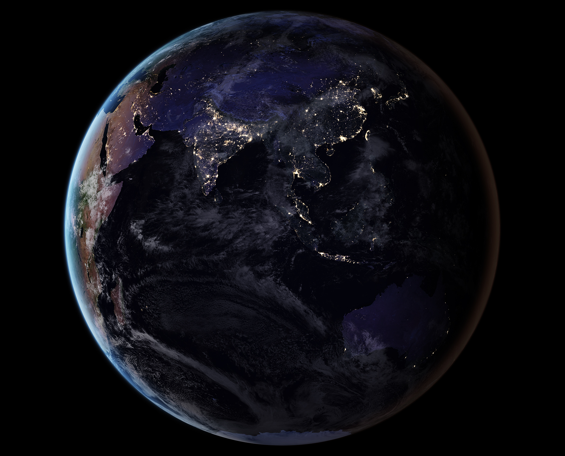 This composite image provides a full-hemisphere view of Earth at night, showing East Asia and the Pacific. (NASA Earth Observatory images by Joshua Stevens, using Suomi NPP VIIRS data from Miguel Román, NASA's Goddard Space Flight Center)