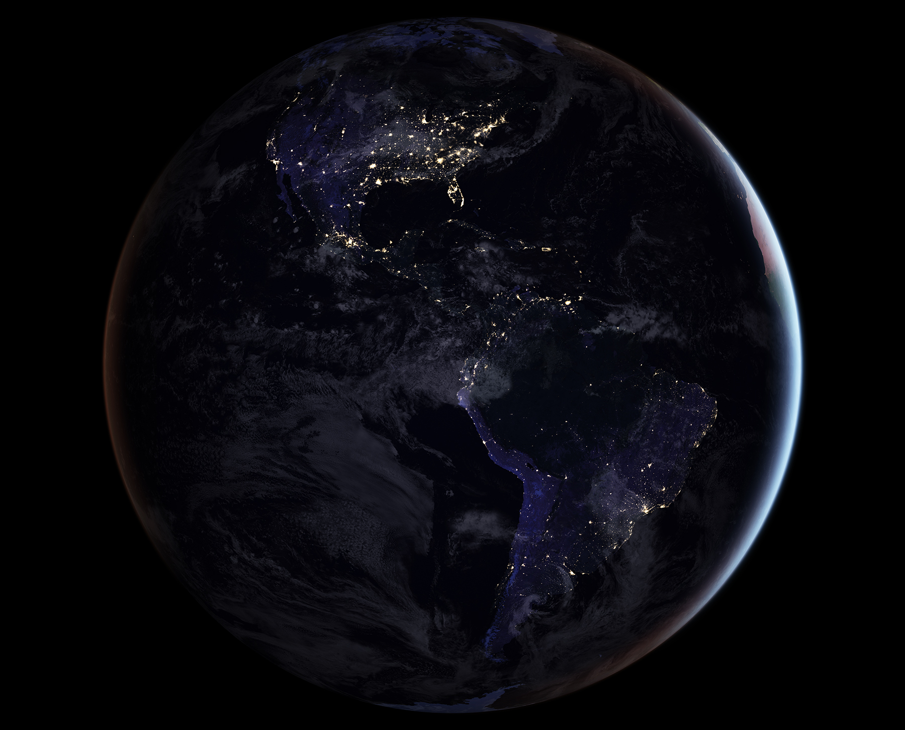 This composite image provides a full-hemisphere view of Earth at night, showing North and South America. (NASA Earth Observatory images by Joshua Stevens, using Suomi NPP VIIRS data from Miguel Román, NASA's Goddard Space Flight Center)