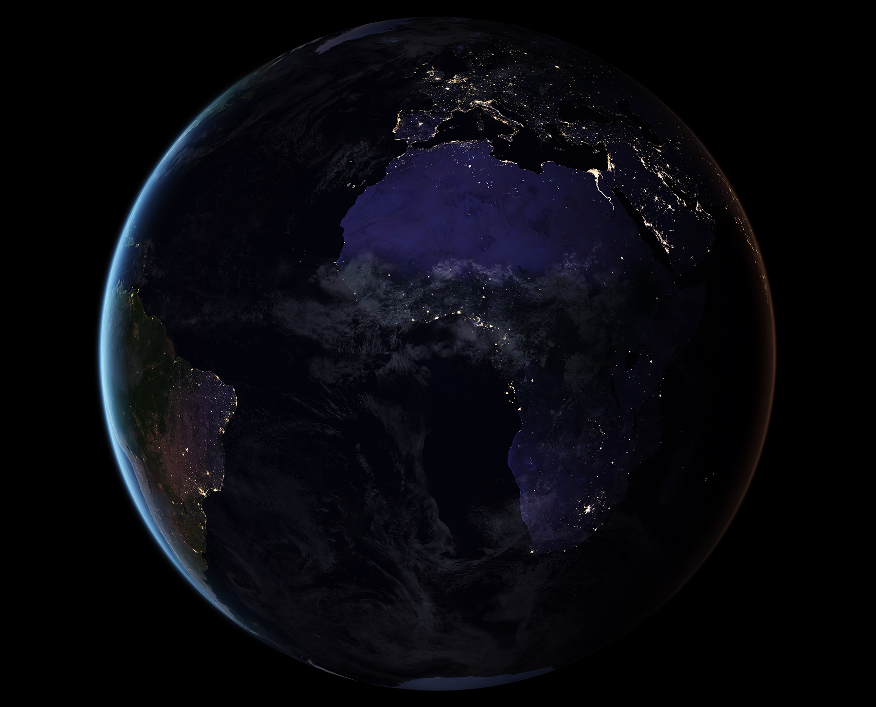 This composite image provides a full-hemisphere view of Earth at night and showing Africa. (NASA Earth Observatory images by Joshua Stevens, using Suomi NPP VIIRS data from Miguel Román, NASA's Goddard Space Flight Center)