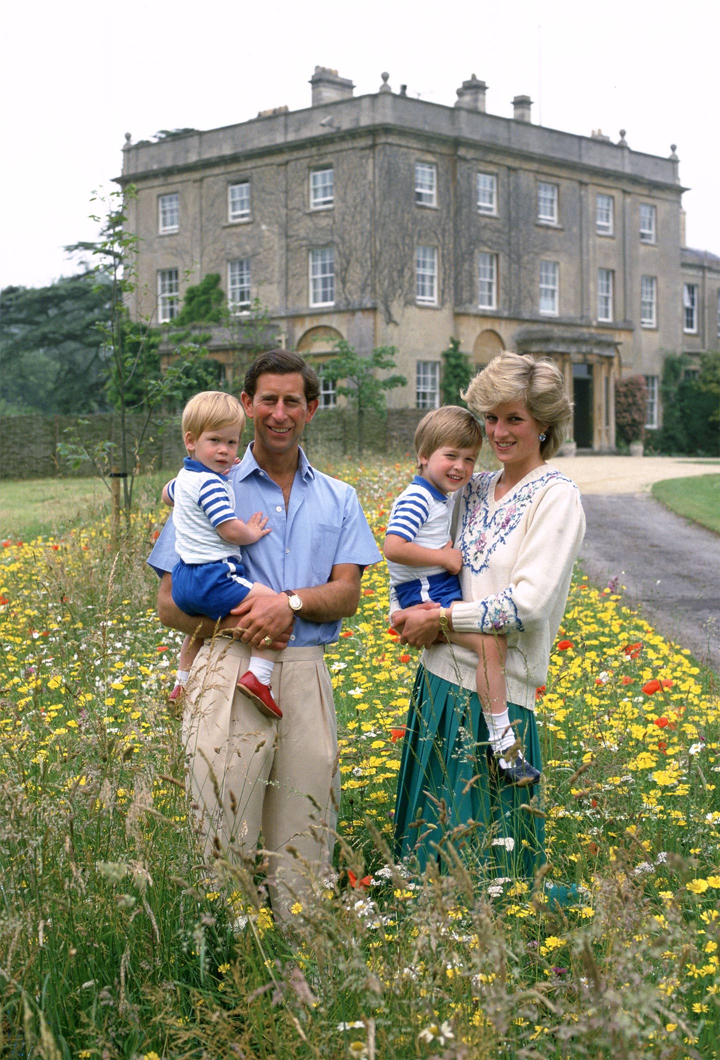 Prince Charles And Princess Diana With William Harry In The Wild Flower Meadow At Highgrove House Gloucestershire England On July 14