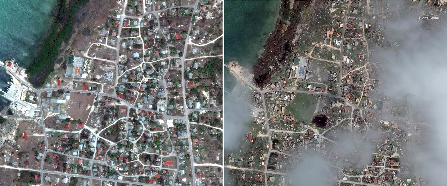 Hurricane Irma Before and After Satellite Image