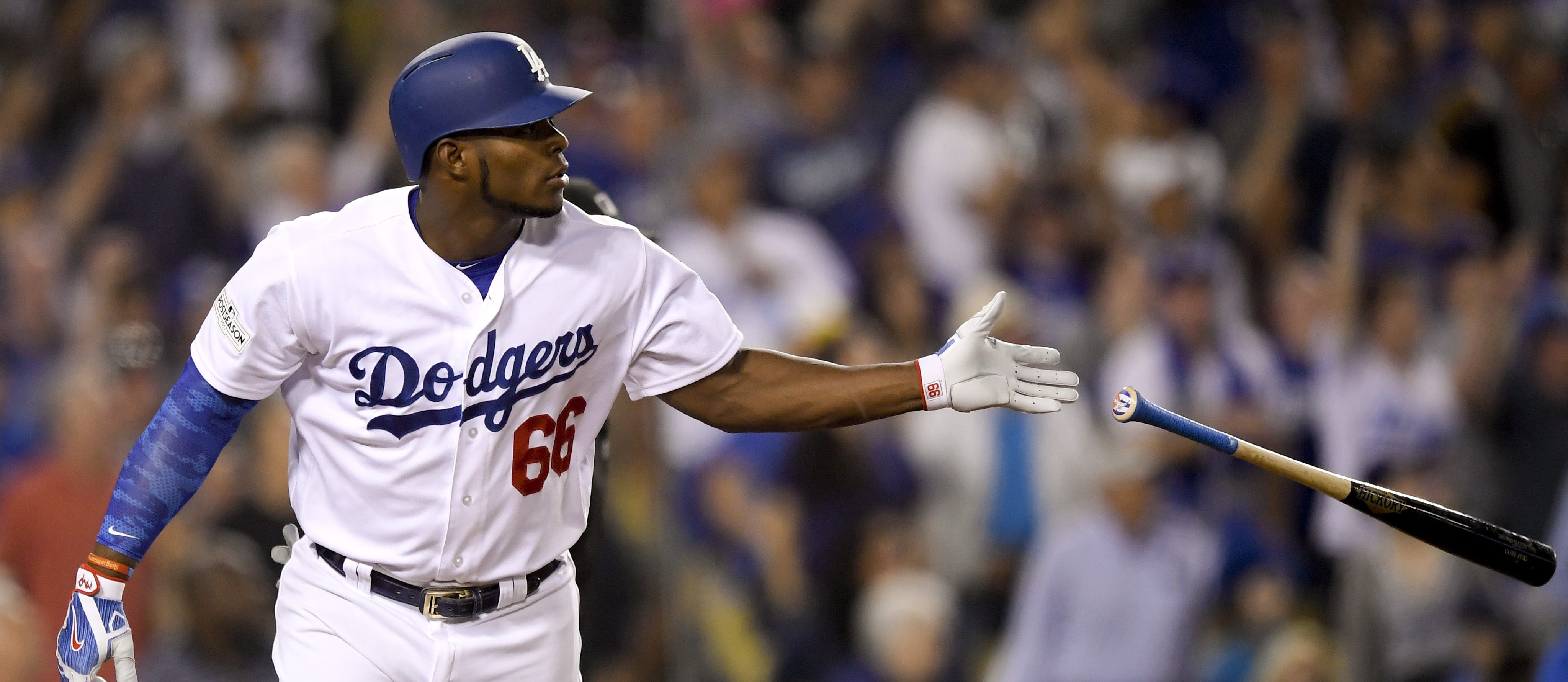 Dodgers Star Yasiel Puig Flips Bats, Critics Flip Lids After NLCS Game 1 Heroics