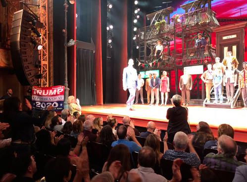 Trump Supporter Interrupts De Niro's Musical With Trump 2020 Flag